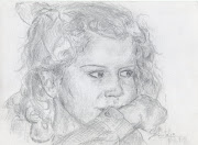 autorretrato a lapiz. Retrato de cuando era pequeña a lápiz