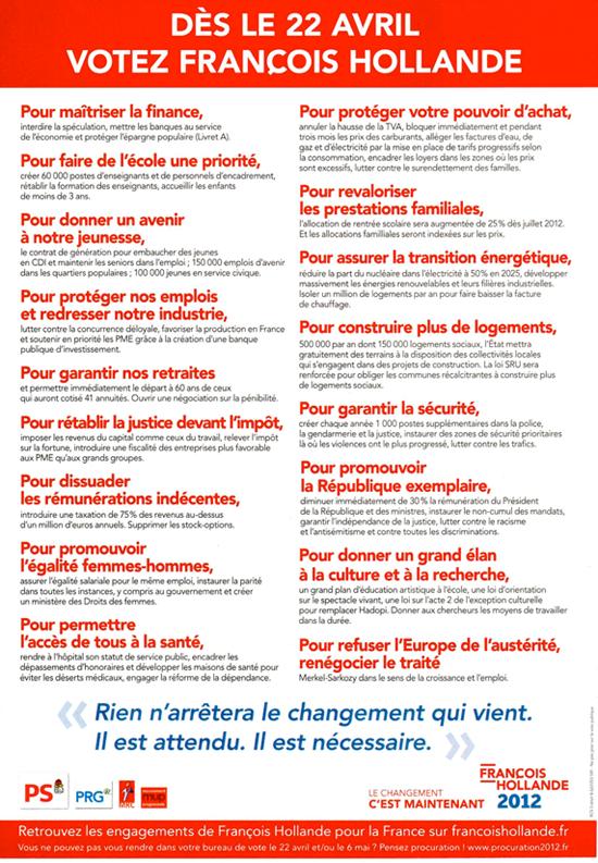 Dès le 22 avril, votez François Hollande