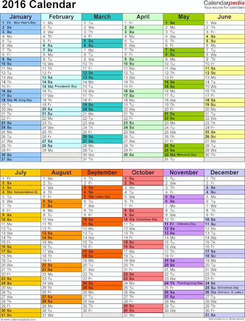 Printable Calendar 2016: Printable 2016 Employee Attendance Calendar