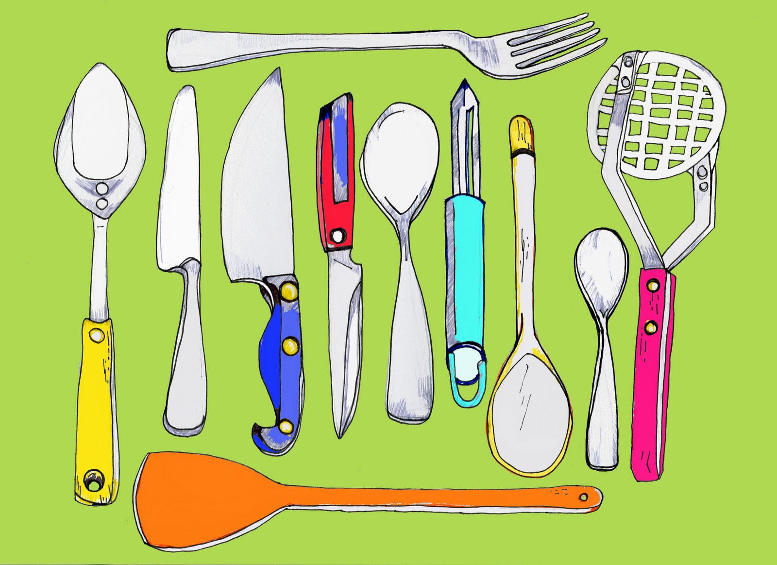 Home Utensils Sketch : Drawing Pictures Of The Kitchen - Home Renovation Ideas