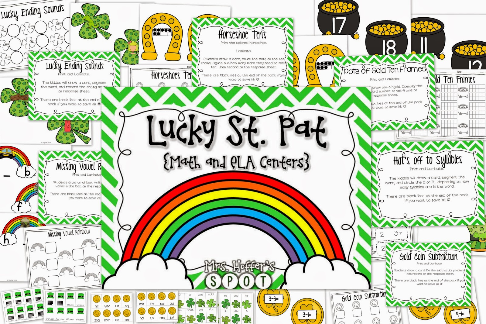 This unit has 6 St. Patrick's Day themed centers and 3 St. Patrick's Day themed games! It is ready to Print and Go!  This unit hits ending sounds, syllables, Missing Vowels, Ten Frames, Making Ten and Subtraction.