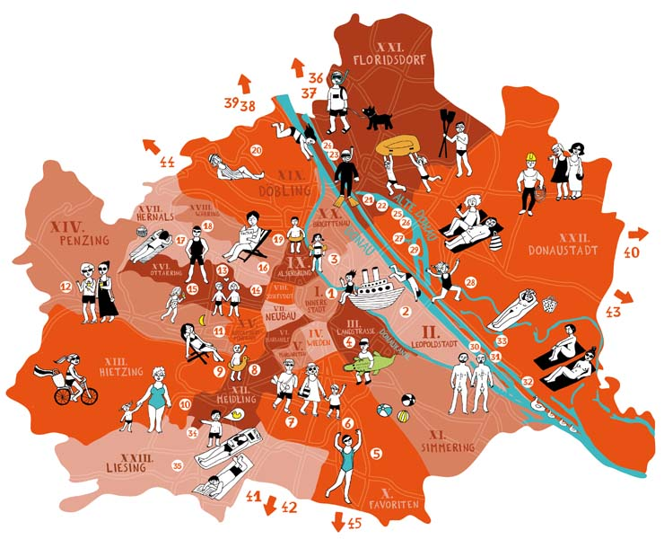 Illustrated maps by bianca tschaikner map of vienna with bathing spots map of vienna for stadtzeitung falter showing the best places to bathe in town like swimming pools lakes and the danube water side you can click on the gumiabroncs Choice Image