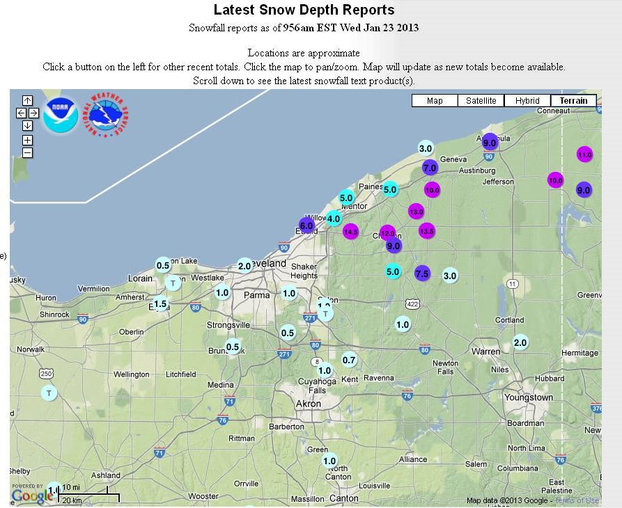 Scott Sabols World Of Weather Latest Snow Depth Reports - Map of northern ohio