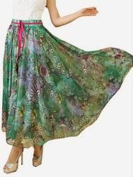 Rok panjang modern untuk remaja motif bunga elegan