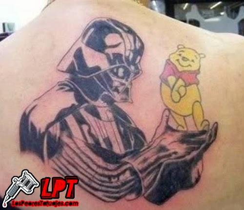 Tatuaje de Darth Vader y Winnie Pooh