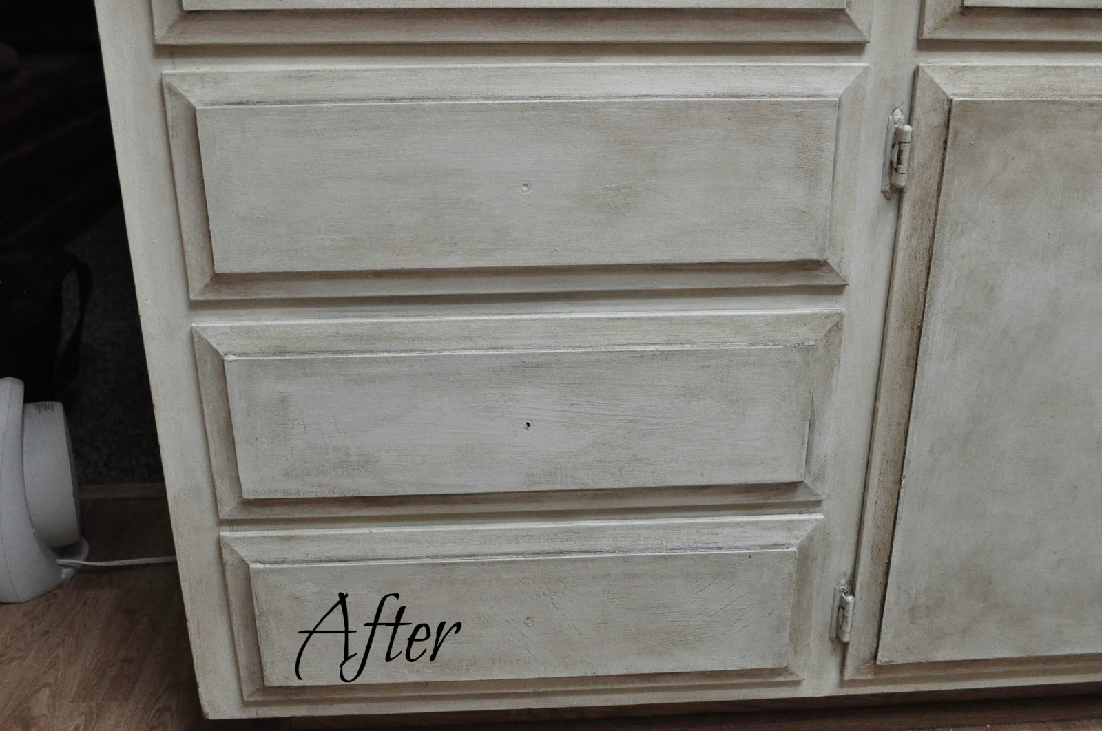 White Cabinets with Dark Wax Chalk Paint