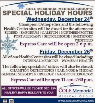 Cole Memorial Holiday Hours