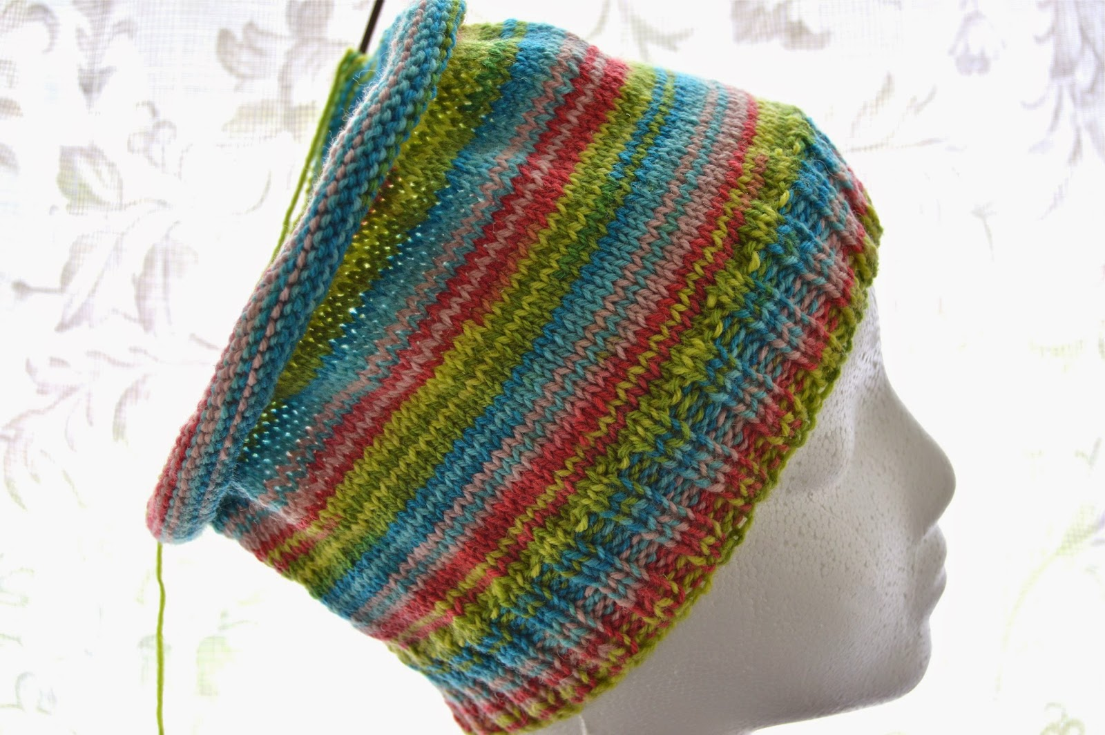 Patons Kroy Socks yarn in Meadow Stripes slouchy girls or womens hat
