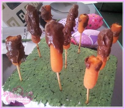 Cenouras com cobertura de chocolate
