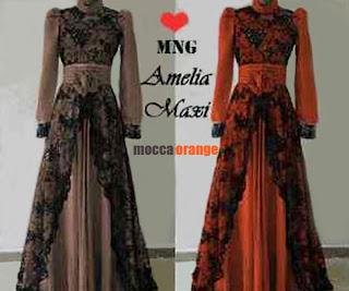 Amelia Maxi Dress - Maxi Dress Kombinasi Jersey dan Brukat