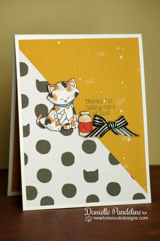 Get Well Kitty card by Danielle Pandeline | Newton's Sick Day Stamp set by Newton's Nook Designs