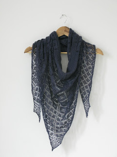 Asphodel Shawl by littletheorem. Geometric lace shawl knitting pattern.