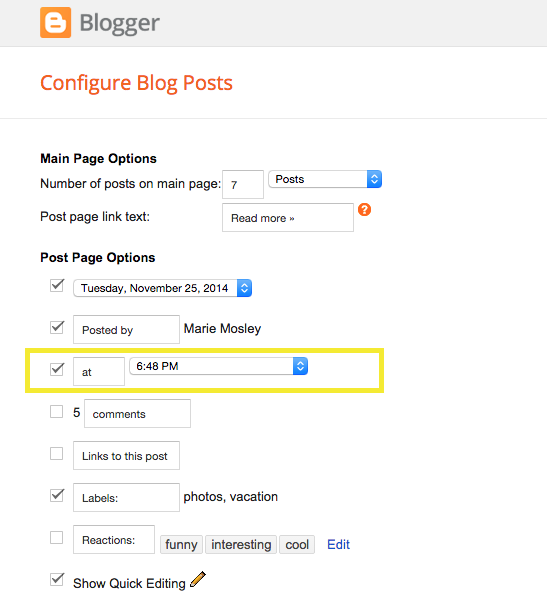 enabling the timestamp link in Blogger