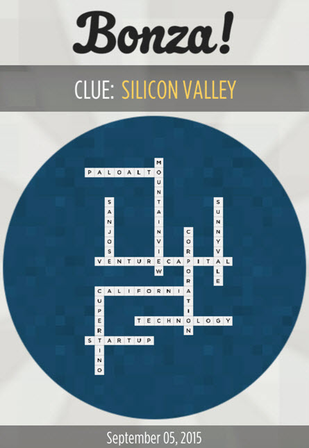 """Bonza National Geographic Clue """"Silicon Valley"""" Answers September 5, 2015"""