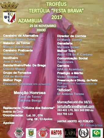 """TERTÚLIA """"FESTA BRAVA"""" (PORTUGAL) ENTREGA TROFEOS 2017."""