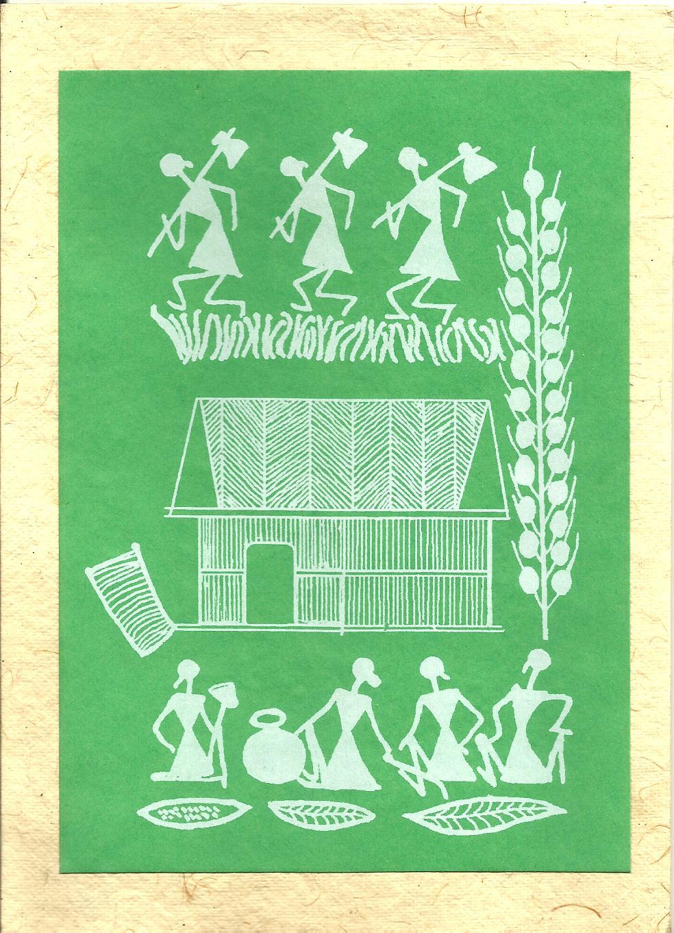 Heritage of india warli paintings greetings cards warli paintings greetings cards kristyandbryce Gallery