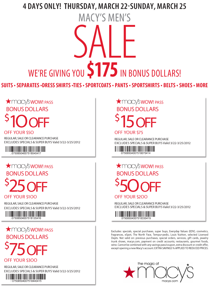 Macys discount coupons printable