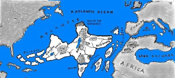 Mapa da Atlantida a 12 mil anos, atlantis, poseidon, ruta e daitia