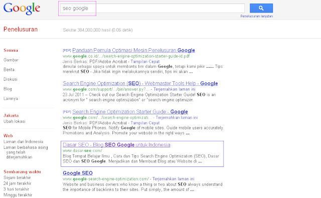 Hasil 5 Besar SERP Google Indonesia untuk Keyword SEO Google