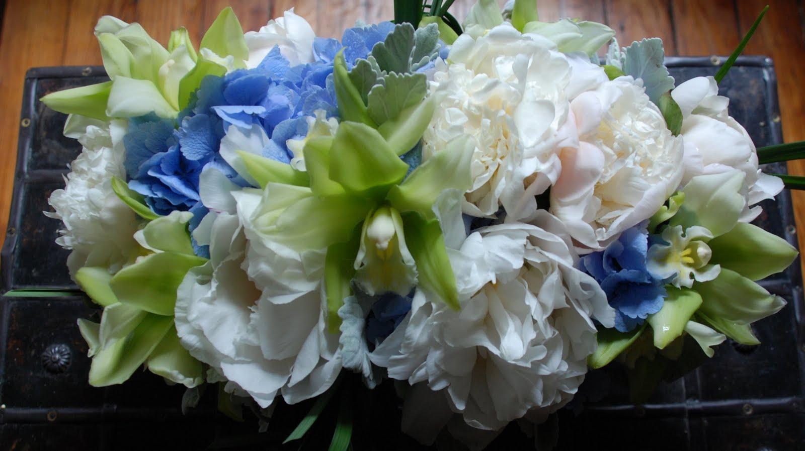 White Peonies Blue Hydrangea And Lemon Lime Cymbidium Orchids