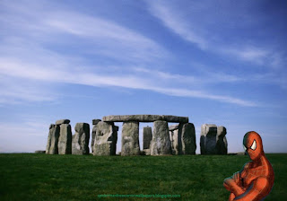 Spiderman  Super Heroe Desktop Wallpapers Upper Body in Classic Stonehenge Stone Monument background