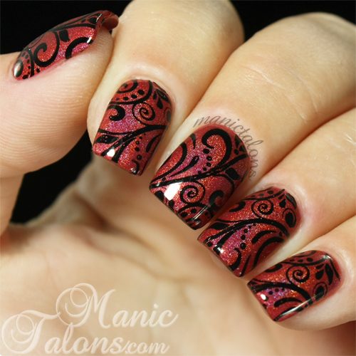 Marsala with Stamping Nail Art
