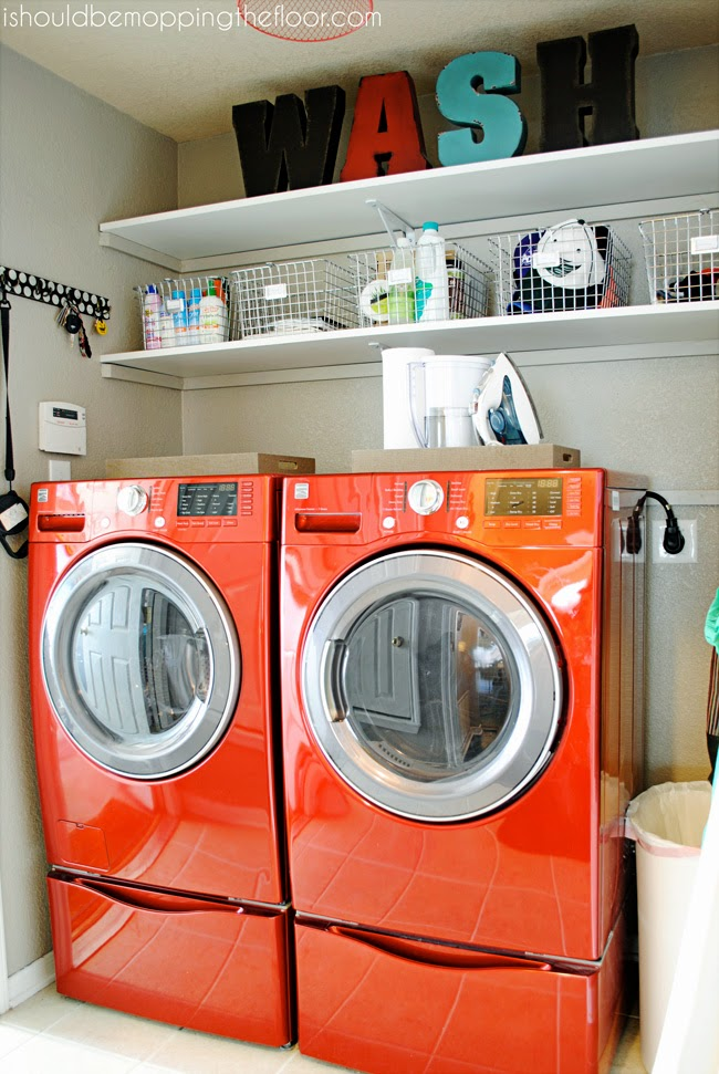I should be mopping the floor laundry room organization with real simple inspiration - Small space laundry set ...