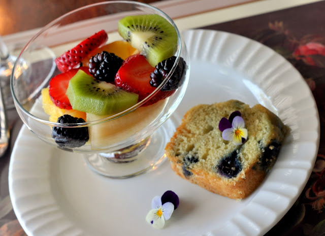 Fruit Salad and Blueberry Coffee Cake at Beazley House - Napa, CA | Taste As You Go
