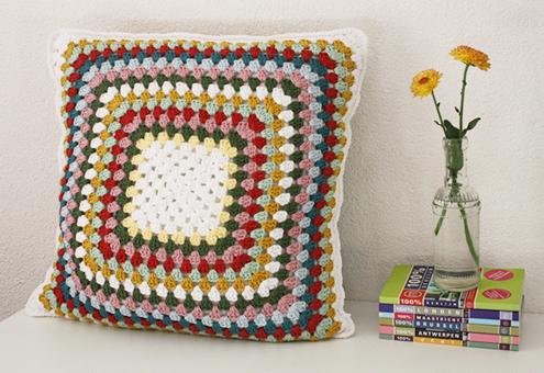 crochet granny square pillow case
