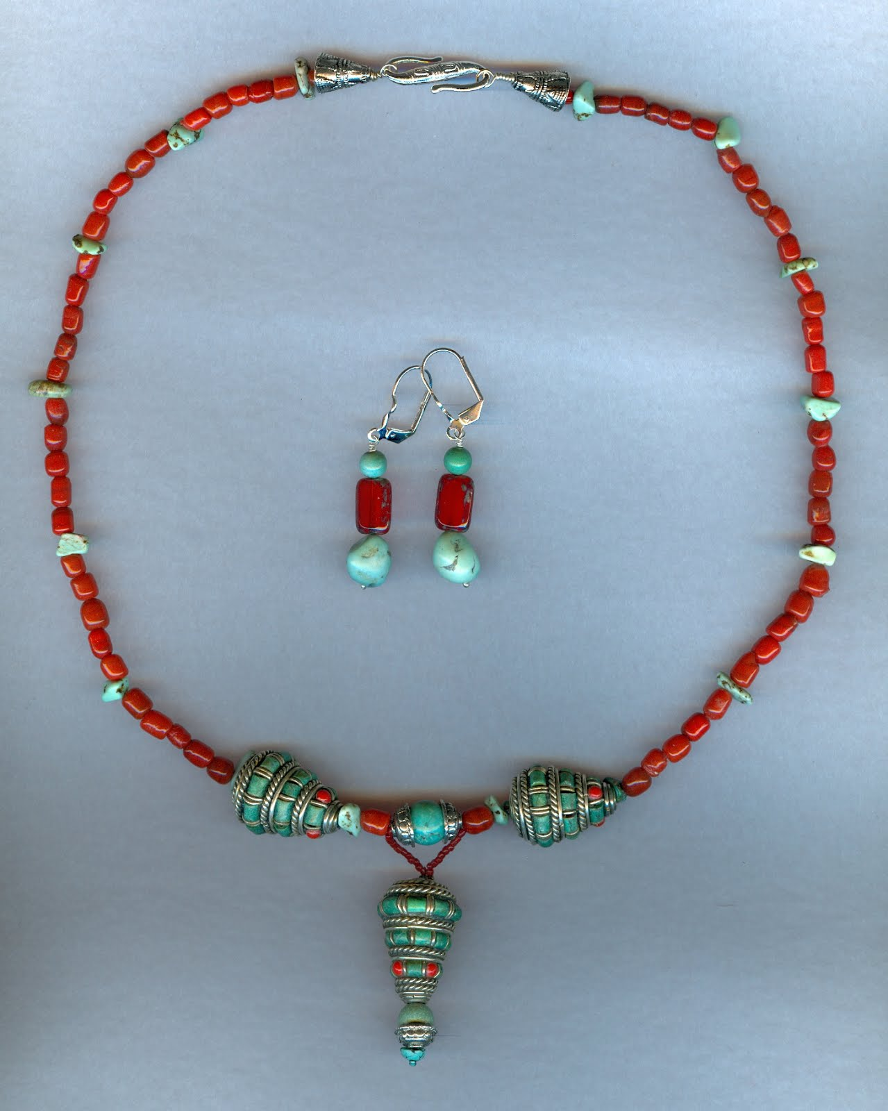 Turquoise,red Coral and Nepali beads