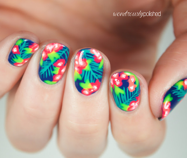 neon tropical nail art