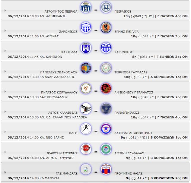 ΣΑΒΒΑΤΟ 06.12.2014 | Το πρόγραμμα αγώνων της ημέρας όλων των κατηγοριών - ομίλων (με βάση την ώρα έναρξης)
