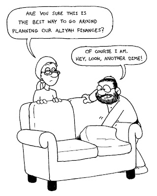 religious jewish husband wife married couple digging around looking under beneath behind couch cushions are you sure this is the best way togo around planning our aliyah finances of course i am hey look another dime