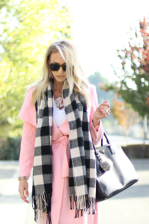 pink coat with lapels