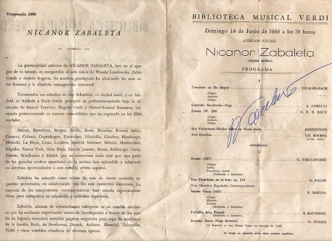 PROGRAMA AUTOGRAFIADO DE NICANOR ZABALETA, AÑO 1966