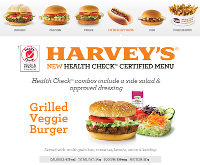 Menu The Heart and Stroke Foundation endorses Harveys burgers? Really?