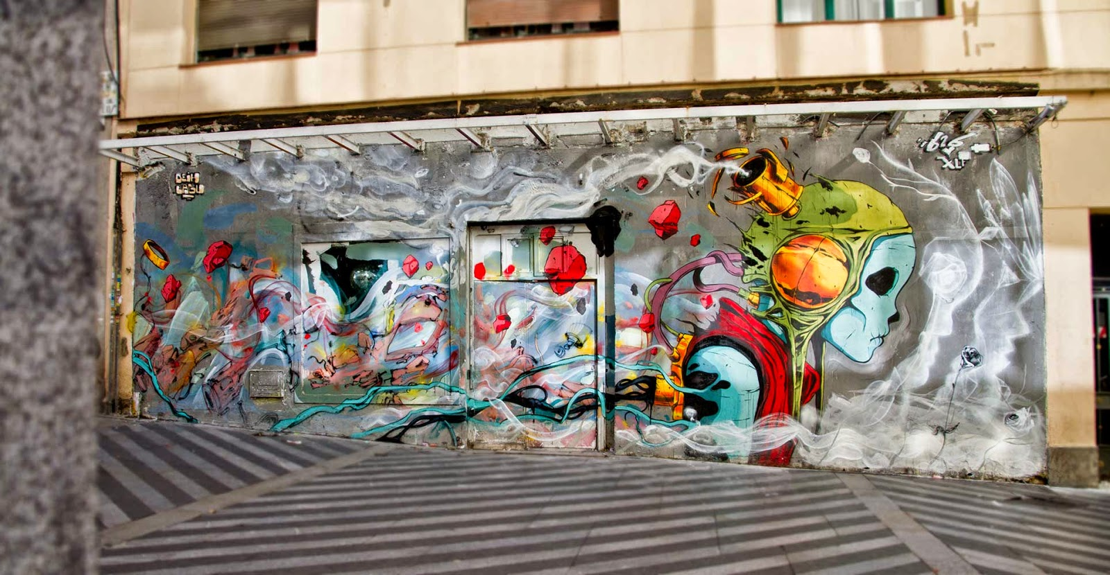 """Deih and Laguna recently stopped by Madrid in Spain where they were invited to paint for the """"Mind The Wall"""" Street Art Project organized by Swinton and Grant Gallery."""