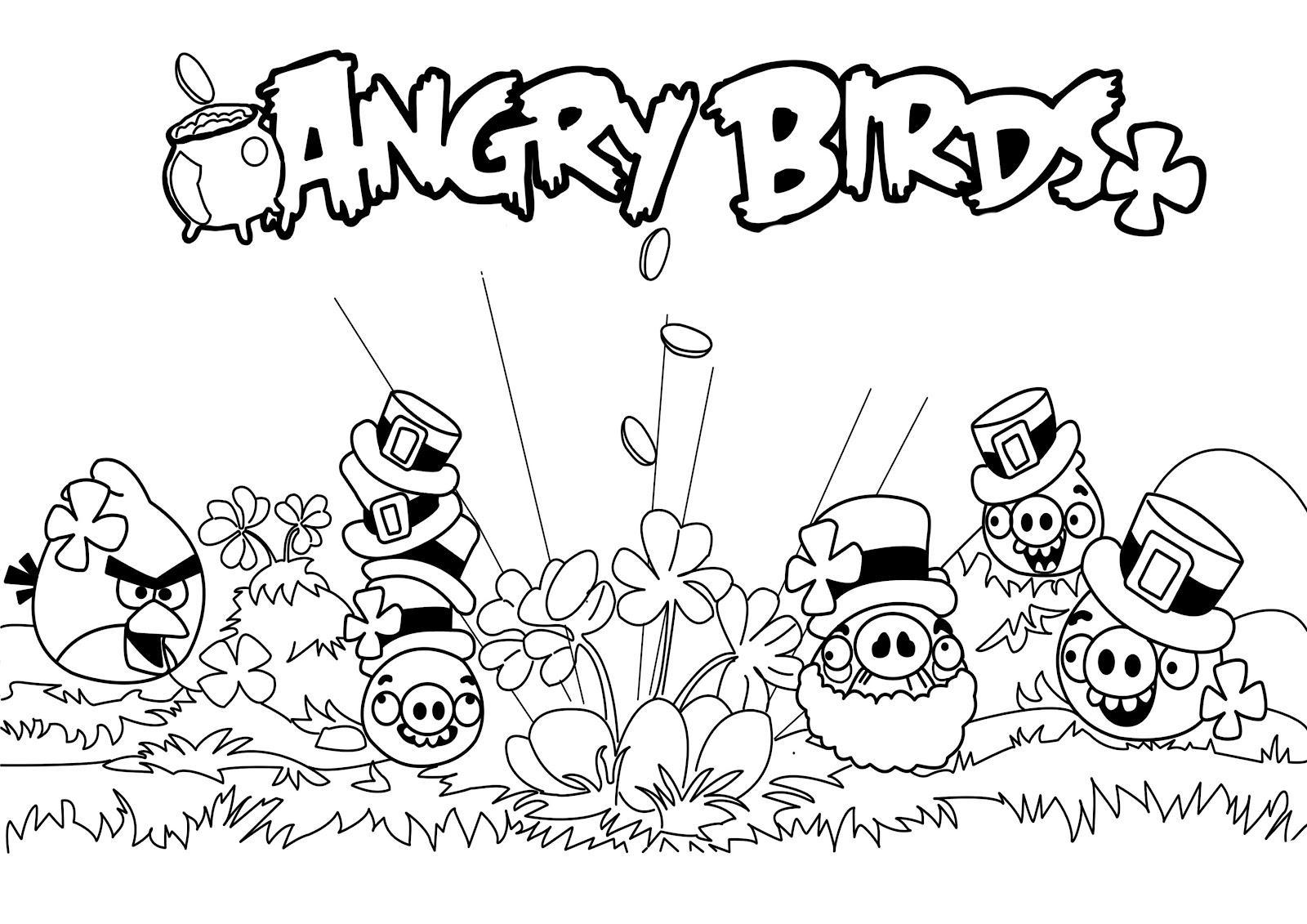 Dibujo de Angry Birds celebrando el día de San Patricio Para ...