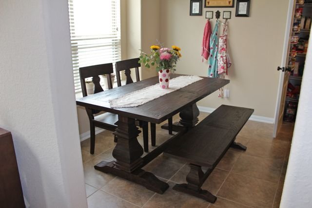 I Found A Pretty Little Linen Runner At HomeGoods The Other Day And Added It To Table Think Does Great Job Of Breaking Up All Dark