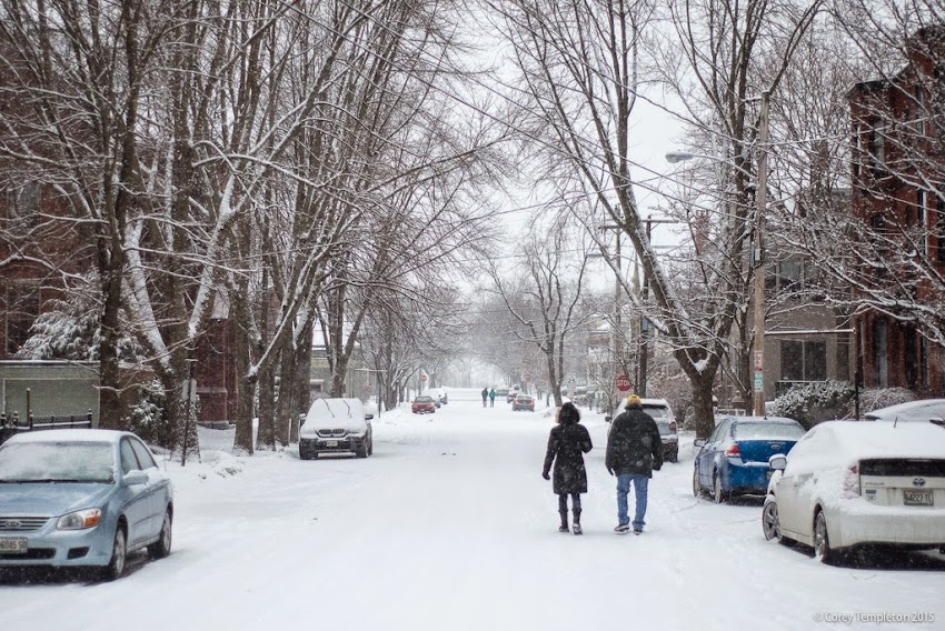 Portland, Maine Carroll Street in the West End with snow January 2015 photo by Corey Templeton