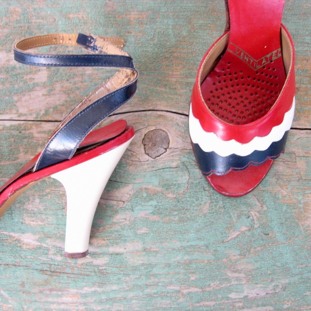 Red White Blue High Heels