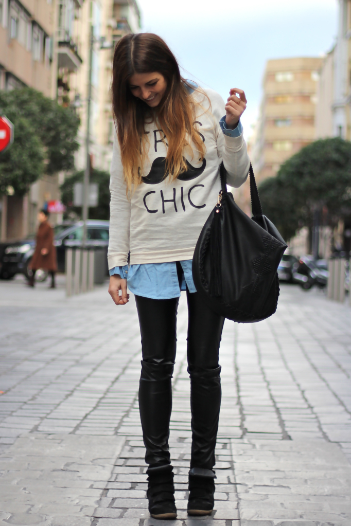 Denim Shirts Outfits with Leggings