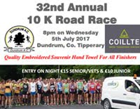 One of the fastest 10k courses in Munster...Dundrum 10k in Tipp...Wed 5th July
