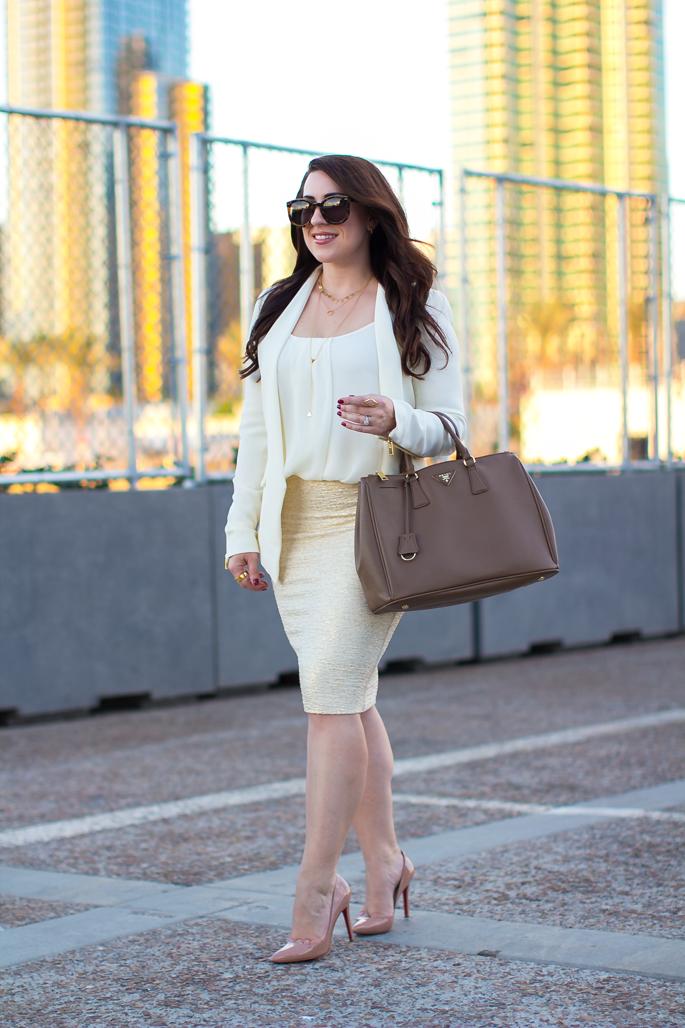 christian louboutin pigalle, gold bodycon skirt, karen walker sunglasses