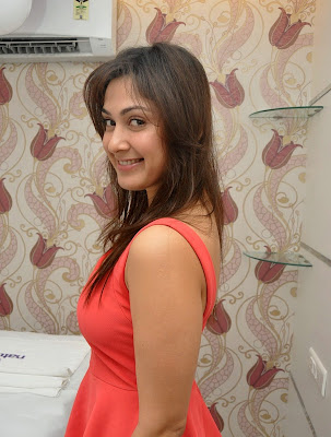 Manjari+(39) Manjari Phadnis Super Hot Photos in Red Dress At The Launch Of Naturals Family Salon & Spa