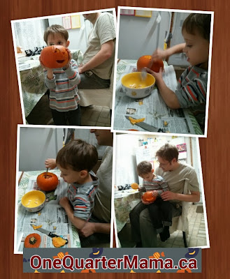 picture collage of pumpkin carving on http://onequartermama.ca All Rights Reserved 2013