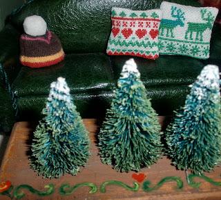 punto cruz cojines en miniatura navidad