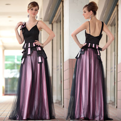 Black and Pink V-Neck Floor Length Dress