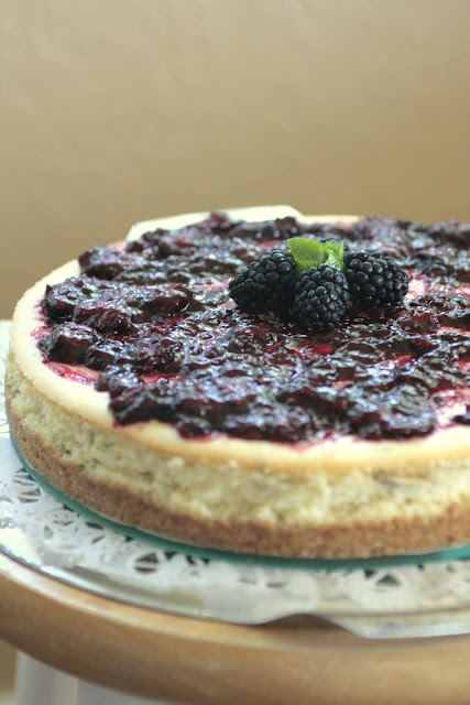 Indigo Scones: Lime Cheesecake with Blackberry Sauce