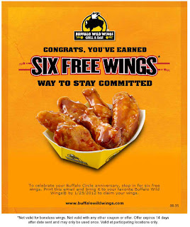 6 Free Wings at Buffalo Wild Wings